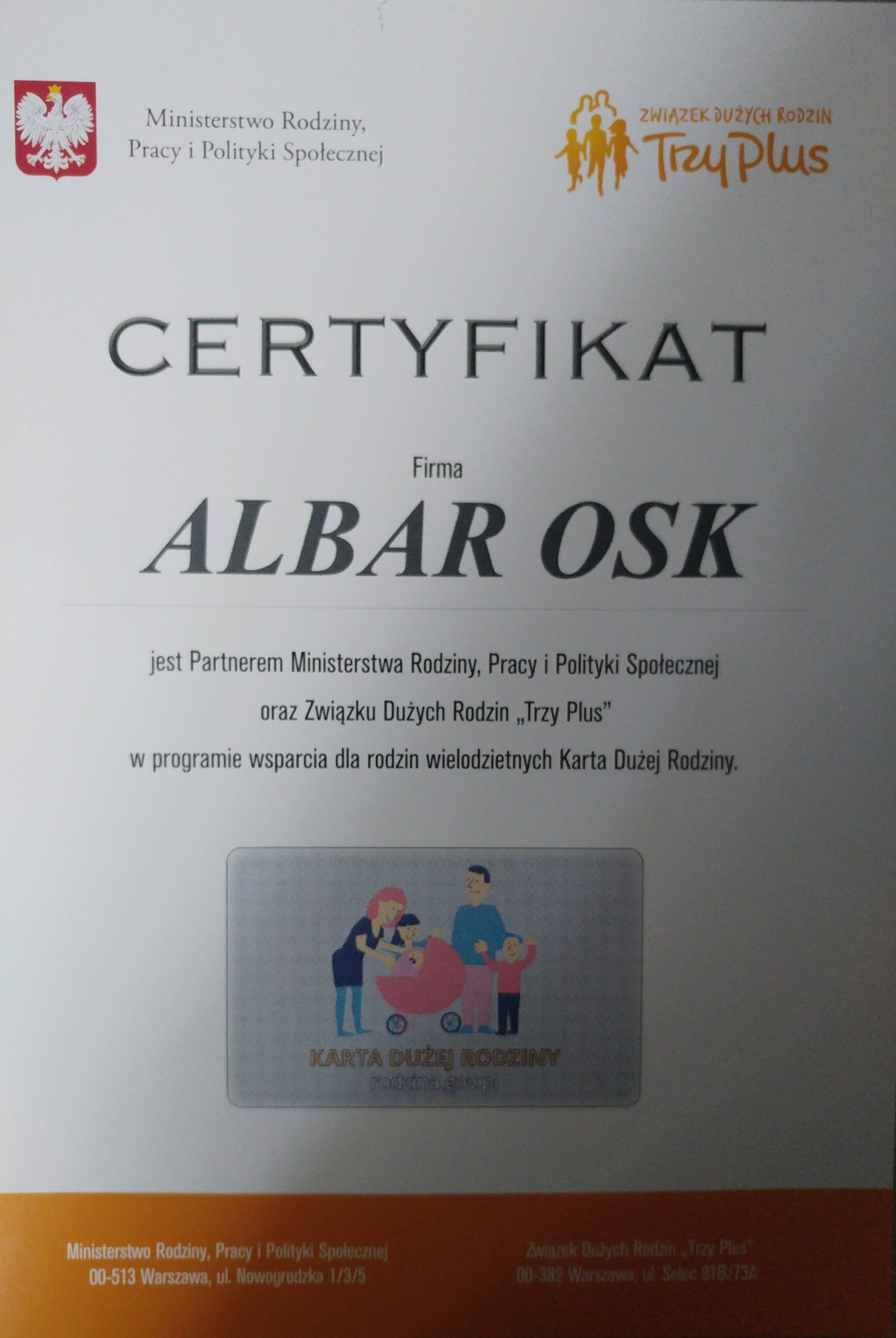 Certyfikat KDR